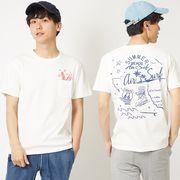 【2019春夏新作】メンズ バイオウォッシュ加工 プリント&刺繍 半袖 ポケット Tシャツ