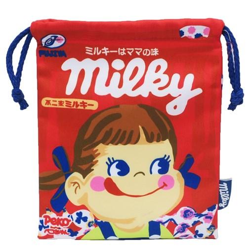 【巾着袋】不二家のペコちゃん/きんちゃくポーチ/ミルキー
