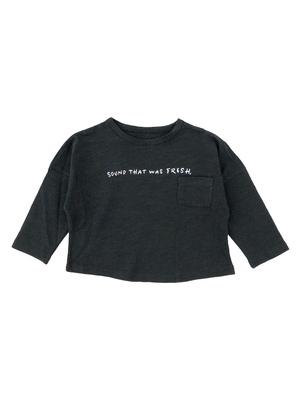 コットン 小 赤ちゃん 春服 男 才 男児 竹の綿 長袖Tシャツ 児童 レターズ 丸襟