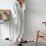 【2019春夏新作★全2色】韓国ファッション♪ワンピース  ゆったり シンプル※ 中・長セクション シャツ