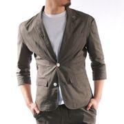 【2020春夏新作】 テーラードジャケット メンズ 7分袖 綿麻 セットアップ対応 春 夏 サマージャケット