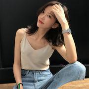 夏 女性服 新しいデザイン 韓国風 着やせ 着やせ 襟 スリング キャミソール シンプル