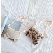 新作 子供バッグ カバン ふわふわ ヒョウ柄 熊 クマ かわいい リボン キッズ 韓国
