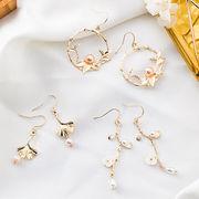 2019新作ピアス 木の枝 パール 宮廷風 透かし編み リンク お花 ビンテージ ファッション