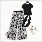 夏装 カジュアルセット 半袖 一字襟 リボン付き トップス + プリント柄 ワイドパンツ シフォンズボン 人気