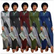全5色 欧美 新しいデザイン おしゃれ 長袖 高スリット ロングスタイル ワンピース アウター セクシー 気質