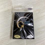 ボディピアス サージカルステンレス 24K 14ゲージ 10mm 定番キャプティブビーズリング