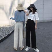 第1 番 女性服 夏 薄いスタイル ニッティング ゴム入りのウエスト ルース ワイドレッ