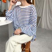 夏 新しいデザイン 韓国風 ファッション ルース ストライプス 薄いスタイル 落ちる 肩