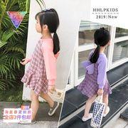 春服 新しいデザイン 韓国風 キッズ洋服 女児 復古格子 漫画 ヒットカラー 袖 プリー