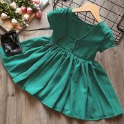 子供服 女児 夏 新しいデザイン 韓国風 パープル 菱 リボン ひもあり 大 スカート