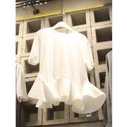 【値段下げました】半袖Tシャツ フリル 切り替え 体型カバー 無地 sweet系 ボトムシャツ