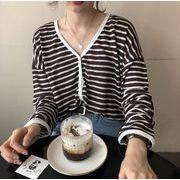 韓国風 春 新しいデザイン 風 ストライプス ルース 襟 ブレステッド 怠惰な 長袖 カ