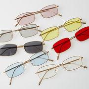 スクエア サングラス メンズ レディース 伊達 メガネ カラーレンズ 眼鏡 めがね UVカット カジュアル