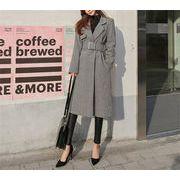 2019春 欧米風レディース 韓国ファッション スーツの襟  スリムフィット  千鳥格子 ウールコート コート