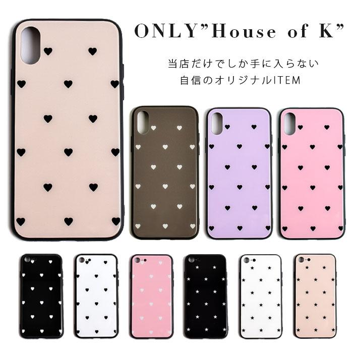 ハート・スター・星・ガラス・iPhone8・Plus・iPhoneX・XS・XS Max・iPhoneXR[スマホケース/iPhoneケース]