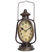 <AMANO>【置時計】ランタンオーバル時計・ブラウン