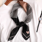 大判正方形スカーフ シルクタッチ ストライプハート柄入り 全2色 05153