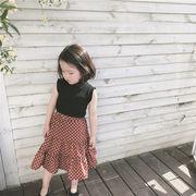 格安!キッズ★インスタ映え韓国子供服女の子★ノースリープシャツ+スカート2点セット★ドット柄7-15選択可