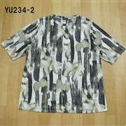 大きな3Lサイズ 麻混ゆったり チュニックTシャツ