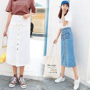 2019新作★スリムAライン 前ボタン・ロングデニムスカート[S-2L] :白/水色/紺/黒/4色展開_19D070807