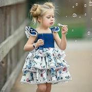 キッズ ワンピース 格安 ミディドレス 女の子 プリント 無袖 SALE 韓国子供服 カジュアル