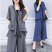 【大きいサイズXL-5XL】【春夏新作】ファッション/上下セットトップス♪グレー/ブルー2色展開◆