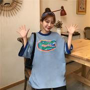 春夏新商品730715  大きいサイズ 韓国 レディース ファッション Tシャツ ワンピース  LL-4L