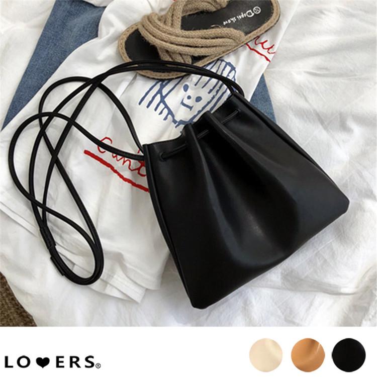人気沸騰 バッグ シンプル  レザー調巾着バッグ ma 【4月初旬頃】 鞄  韓国ファッション アート 新品 潮