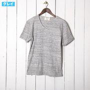 半袖Tシャツ メンズ Vネック 杢 フライス カットソー 無地 白 グレー 青 紺 赤 黒 厚手