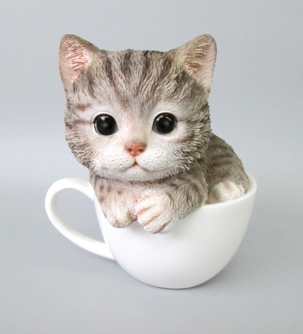 <AMANO>【レジン製ネコ】アメショ・ティーカップ