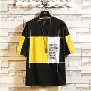 メンズTシャツ カットソー 半袖トップス 丸首 大きいサイズ ホワイト/ブラック/イエロー3色