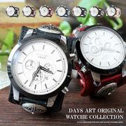 腕時計 メンズ クロノグラフ 本革 サドルレザー イタリアンレザー ブレスウォッチ 生活防水 蓄光 箱付き