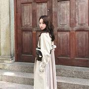春まで着れる トレンドデザイン 韓国ファッション 春新作 バックプリーツトレンチ アウター