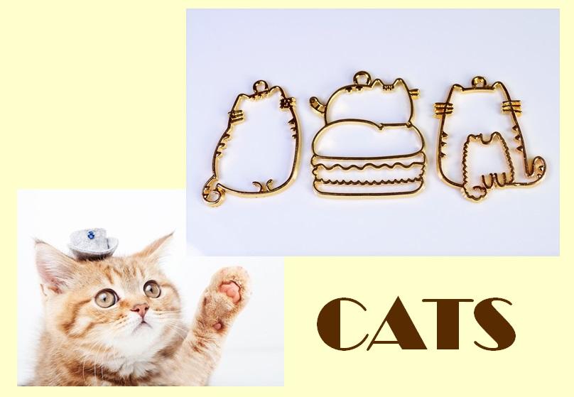 アンティークパーツ 猫フレーム 猫雑貨 レジン枠 レジンフレーム