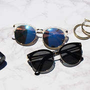 サングラス メガネ 眼鏡 小物 マーブルフレーム UV対策 ミラーレンズ オシャレ
