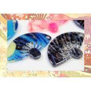 【夏アクセサリー】アクリル製扇子パーツ 夏アクセサリー補材 和柄パーツ 和雑貨 25円