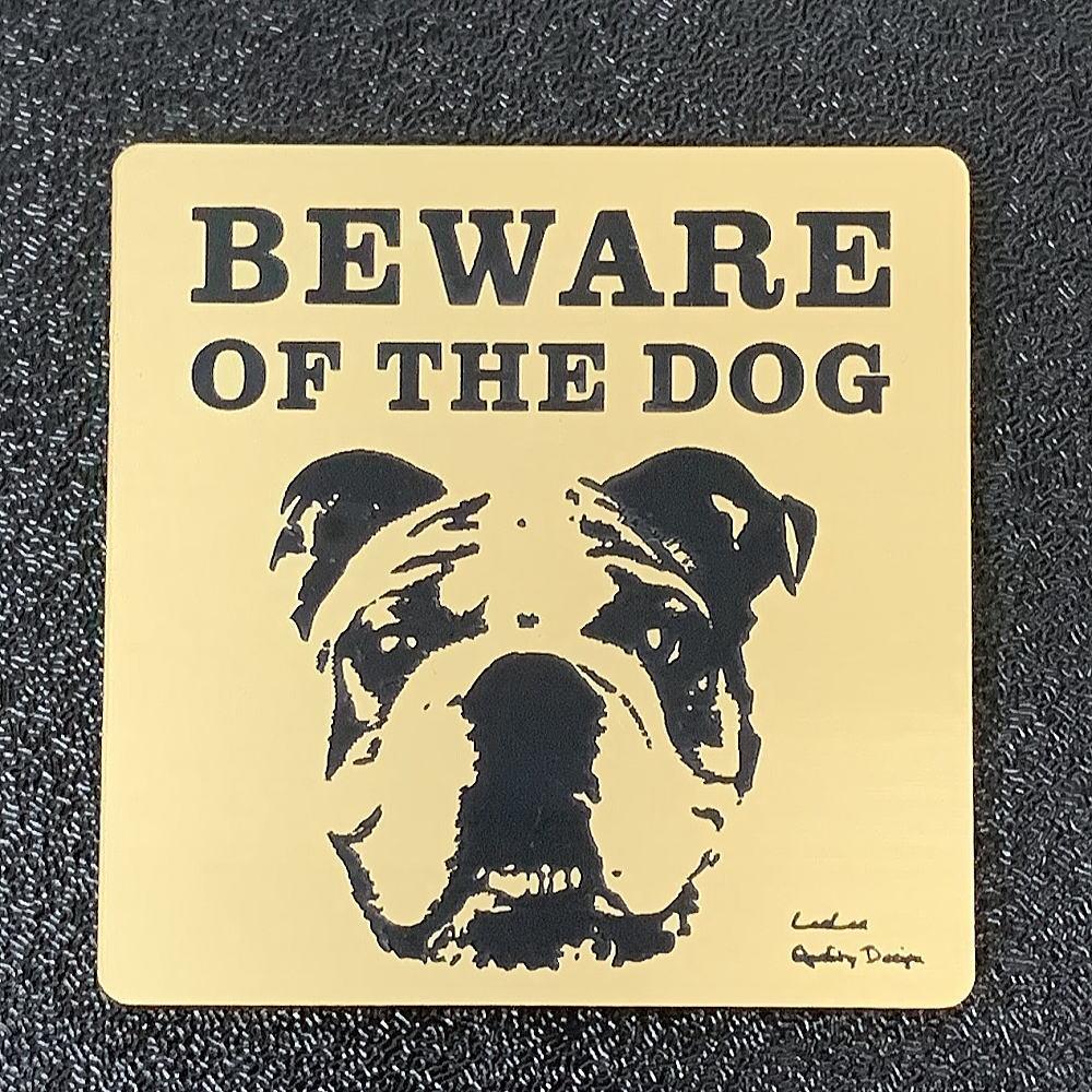 BEWARE OF THE DOG 猛犬注意サインプレート 犬に用心(ゴールドアクリルプレート)ガーデンプレート