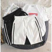 メンズ新作ジーンズ ハーフパンツ ジョガーパンツ 大きいサイズ カジュアル ホワイト/ブラック2色