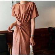 限定発売 高品質で 韓国ファッション    半袖 カレッジ風 ワンビース 怠惰な風 エレガント ロングスカート