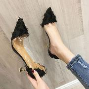 女靴 春 新しいデザイン 韓国風 何でも似合う ヒント 靴 女 透明な ハイヒール 細い