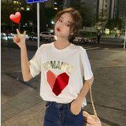ハートロゴTシャツ レディース 韓国 オルチャン かわいい おしゃれ