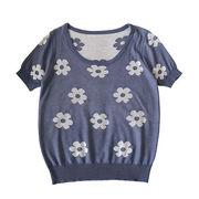 夏 新しいデザイン 韓国風 若いもの フラワーズ パターン ルース 丸襟 半袖 ニットT