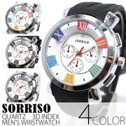 正規品SORRISOソリッソ ローマ数字にフェイククロノグラフ ラバーベルト時計 SRHI15 メンズ腕時計
