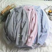 【ファッション夏新作】 シャツ 長袖シャツ メンズ スタンドカラー ストライプ 韓国ファッション