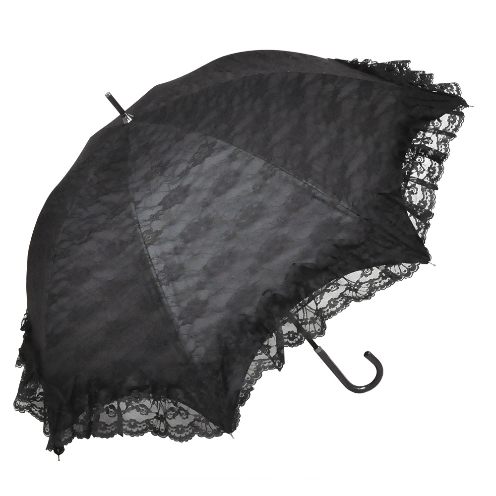 <AMANO>【晴雨兼用傘】レース柄ドーム傘・レースブラック