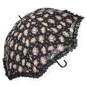 <AMANO>【晴雨兼用傘】ローズ柄ドーム傘・ブラック