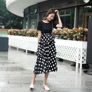 韓国ファッション新品 おしゃれドット切替フリルワンピース レディース 夏