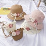 UVカット帽子 サンバイザー キッズキャップ 子供 帽子 おしゃれ 草編み帽子