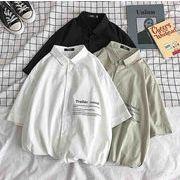 メンズ新作ワイシャツ トップス カジュアル ゆったり ホワイト/ブラック/ライトグリーン3色